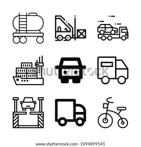 Transport related set of 9 icons such as truck, tank, lift, forklift, shipping, lorry