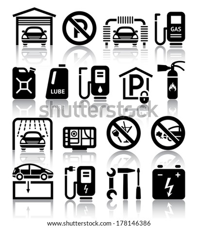 Transport service set of black icons. Vector illustrations, silhouettes isolated on white background