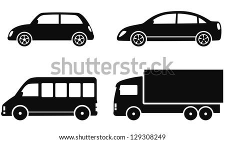 transport set of black cars on white background