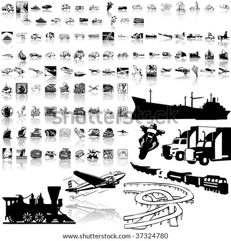 Transport set of black sketch. Part 1. Isolated groups and layers.