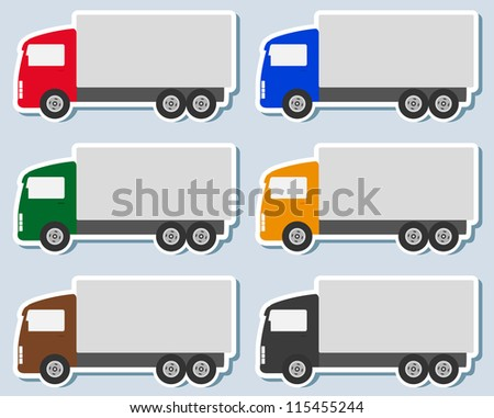 transport set of colorful sticker with small truck silhouette - stock vector