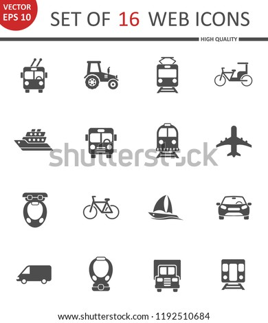 Transport. Set of 16 high quality web icons
