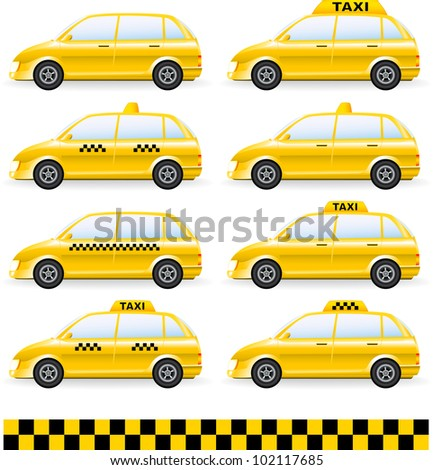 transport set of isolated cars  with taxi symbol