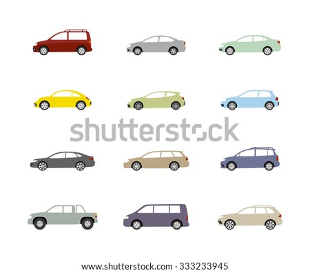 Transport set of isolated colorful car icon on white background. Vector art.