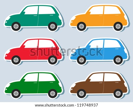 transport set of stickers colorful retro car silhouette