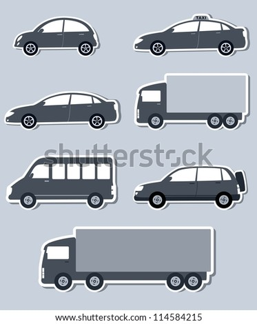 transport set with monochrome isolated cars silhouettes and shadow