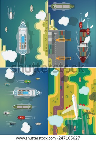transport ships and planes set