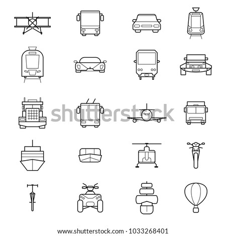 Transport Signs Black Thin Line Icon Set Include of Car, Train, Bus, Truck, Ship, Airplane, Motorcycle and Van. Vector illustration