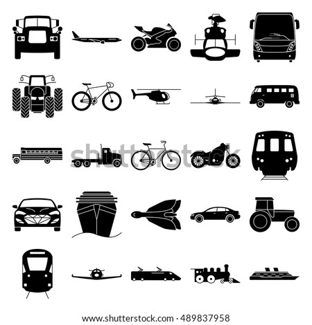 Transport simple silhouette icon set on background