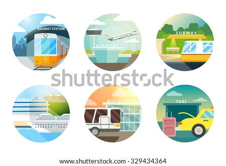 Transport stations flat icons set. Transportation and railway, airport and subway, metro and taxi, vector illustration