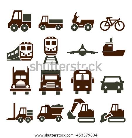 transport, transportation icon set