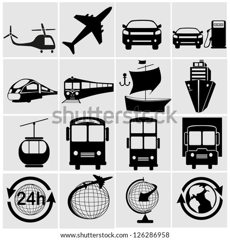 Transport, transportation - set of isolated vector icons. Black on white background.