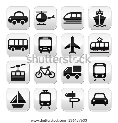 Transport, travel vector buttons set isoalated on white #136427633