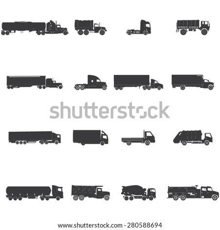 transport trucks icon set