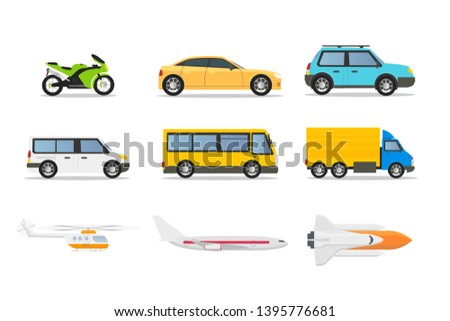 Transport types flat vector illustrations set. Cartoon vehicles isolated design elements. Passenger car, motorcycle, city bus, helicopter, plane, rocket. Urban public, private cars, aircrafts