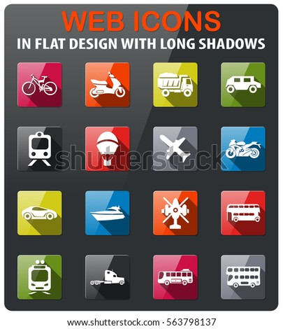 transport types icons set in flat design with long shadow