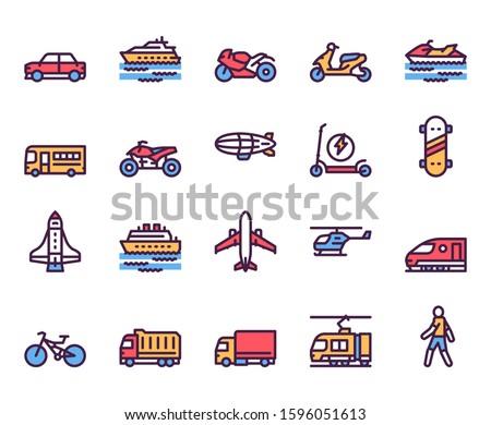 Transport types linear color vector icons set. Car, motorbike, scooter contour symbols. Public transport modes. Bus, airplane, ship. Transportation means. Vehicles outline illustrations collection Foto stock ©