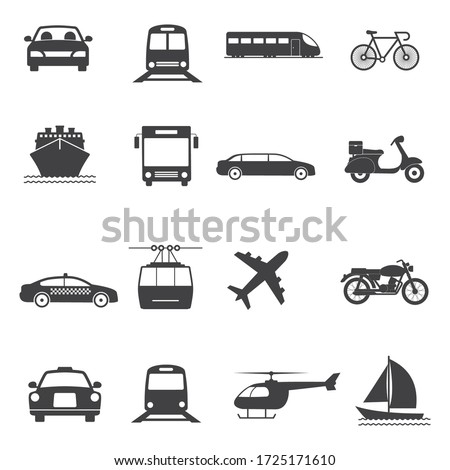 Transport Vector Icon set. Contains such Icons as Taxi, Train, Tram, Airplane, car, Public bus, Ship/Ferry, bicycle, motorcycle and more.