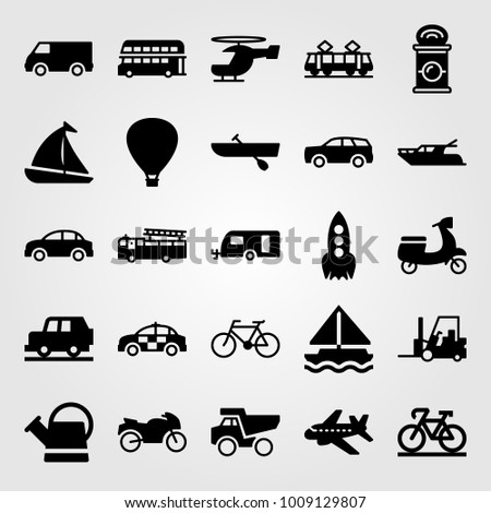 Transport vector icon set. forklift, motorcycle, motorbike and double decker bus