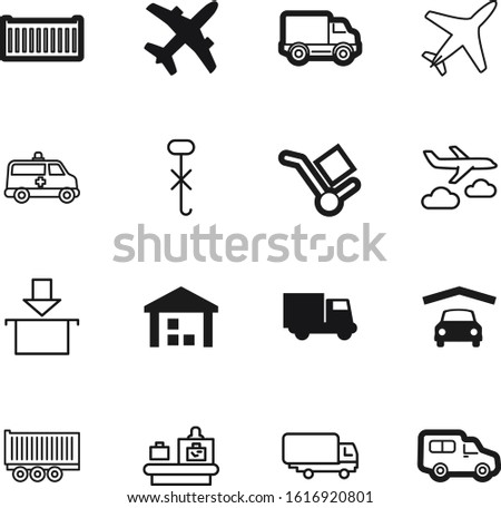 transport vector icon set such as: inspection, wheelbarrow, profile, wheel, button, monitor, label, baggage, port, computer, garage, scan, tag, terminal, hooks, object, stock, scanner, hook, industry