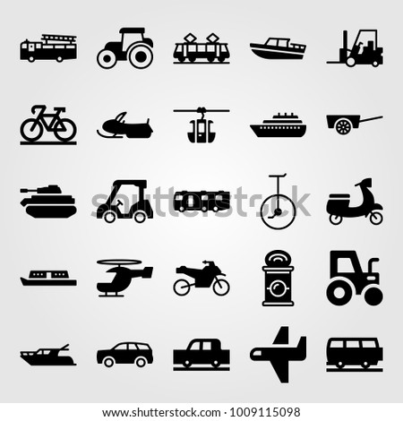 Transport vector icon set. tank, ship, cart and airplane