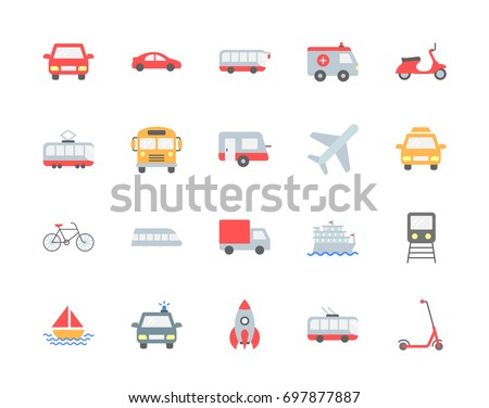 transport vector icons  flat