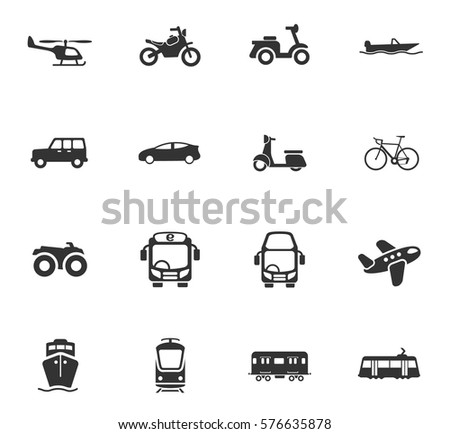 transport vector icons for user interface design