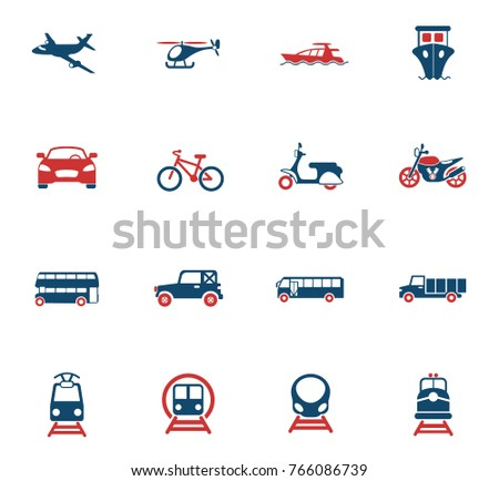 transport vector icons for web and user interface design