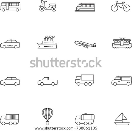 Transport vector icons set outline