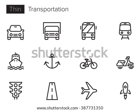 transport vector icons set thin