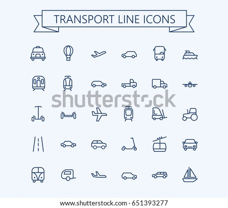 Transport vector icons set. Thin line outline 24x24 Grid. Pixel Perfect