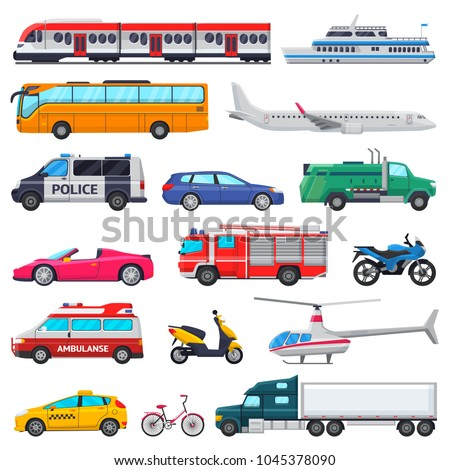 Transport vector public transportable vehicle plane or train and car or bicycle for transportation in city illustration set of ambulance fire-engine and police car isolated on white background - Shutterstock ID 1045378090