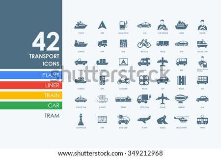 transport vector set of modern simple icons