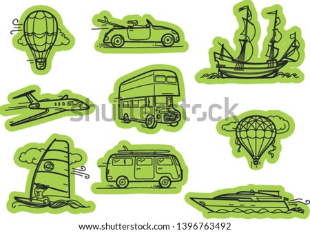Transport vector stickers. Vector stickers set isolated on white