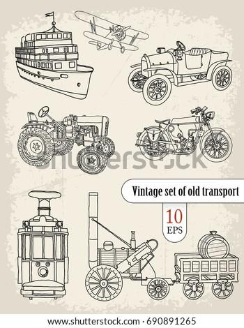 transport. vintage set.