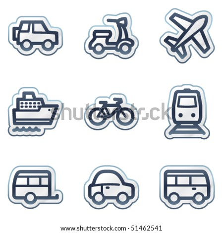 Transport web icons, deep blue contour sticker series - stock vector