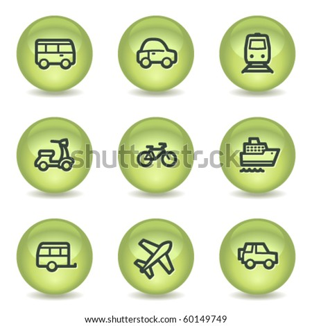 Transport  web icons, green glossy circle buttons
