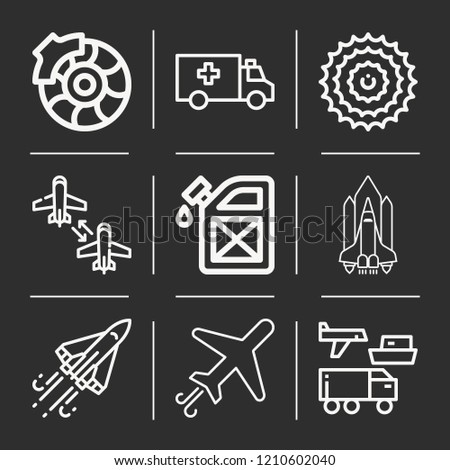 Transportation, airplane, aircraft, shuttle, space shuttle, gear, ambulance, brake icon set suitable for info graphics, websites and print media and interfaces