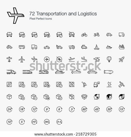 Transportation and Logistics Pixel Perfect Icons (line style)