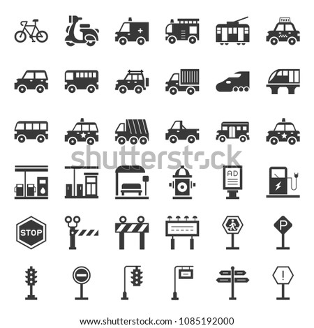 Transportation and sign on road, such as truck, car, stop sign, bus stop, gas station, solid icon
