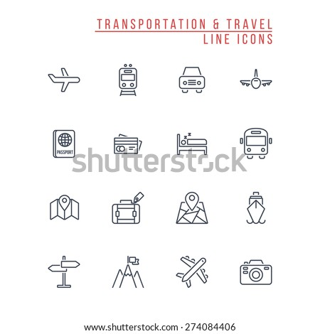 Transportation and Travel Line Icons