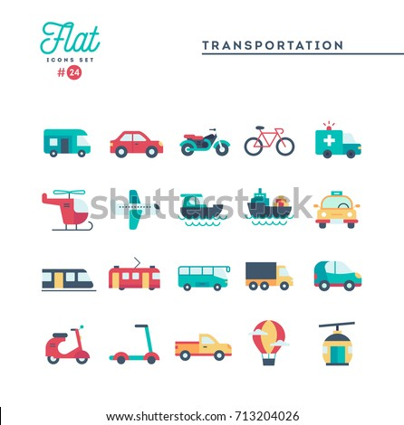 Transportation and vehicles, flat icons set, vector illustration