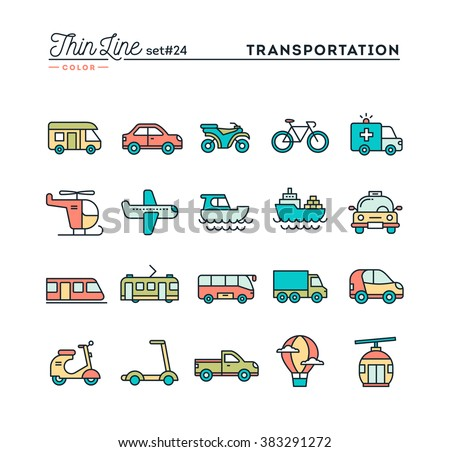 Transportation and vehicles, thin line color icons set, vector illustration