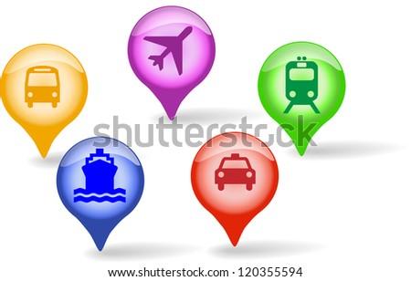 transportation aqua icons set for web site, home, business, trade