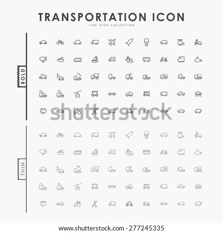 transportation bold and thin line icons