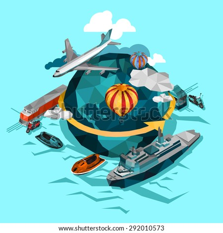 Transportation by air water and ground around the world concept isolated vector  illustration