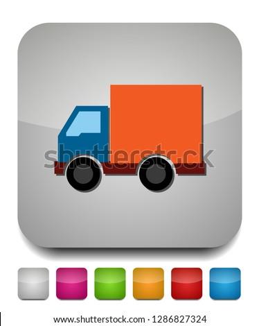 transportation car - pickup truck, delivery van truck, lorry icon - Cargo van illustration