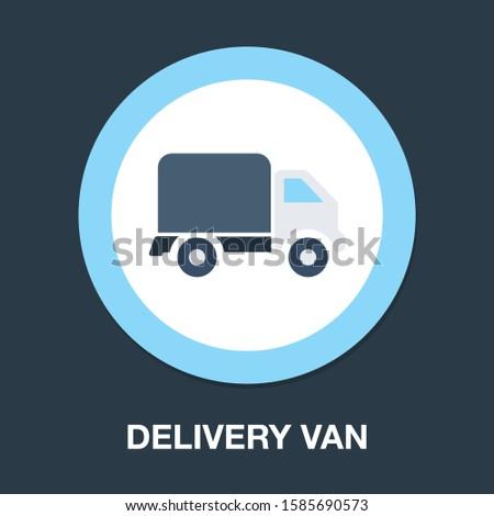 transportation car - pickup truck, delivery van truck, lorry icon - Cargo van illustration Stock photo ©