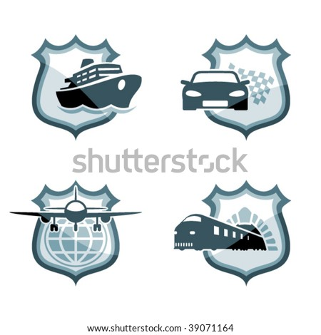 Transportation emblems. Vector icons of car, plane, ship and train