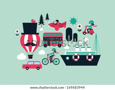 transportation flat vector/illustration